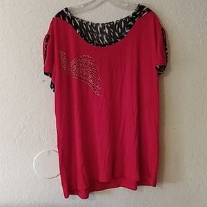Red peacock blouse